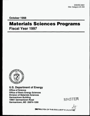 Primary view of object titled 'Materials sciences programs, Fiscal year 1997'.