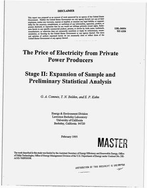 Primary view of object titled 'The price of electricity from private power producers: Stage 2, Expansion of sample and preliminary statistical analysis'.