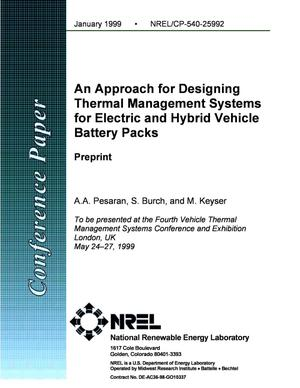 Primary view of object titled 'An Approach for Designing Thermal Management Systems for Electric and Hybrid Vehicle Battery Packs'.