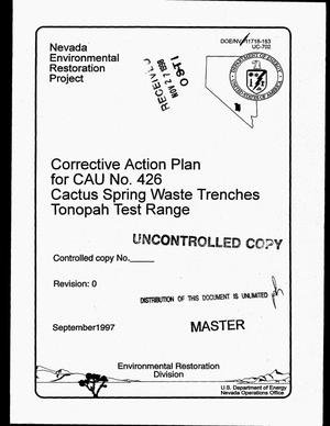 Primary view of object titled 'Corrective action plan for CAU 426: Cactus Spring Waste Trenches, Tonopah Test Range'.