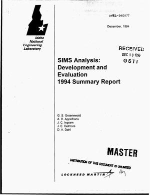 Primary view of object titled 'SIMS analysis: Development and evaluation 1994 summary report'.
