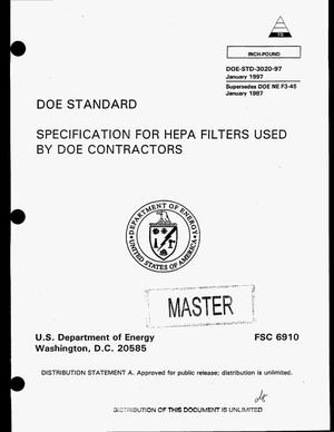 Primary view of object titled 'Specification for HEPA filters used by DOE contractors'.