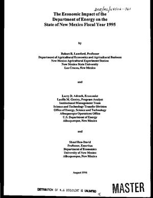 Primary view of object titled 'The economic impact of the Department of Energy on the State of New Mexico Fiscal Year 1995'.