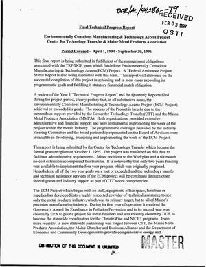 Primary view of object titled 'Environmentally conscious manufacturing & technology access project: Final technical progress report, April 1, 1994--September 30, 1996'.
