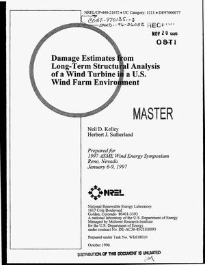 Primary view of object titled 'Damage estimates from long-term structural analysis of a wind turbine in a US wind farm environment'.