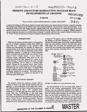Primary view of object titled 'Present and future radioactive nuclear beam developments at Argonne'.