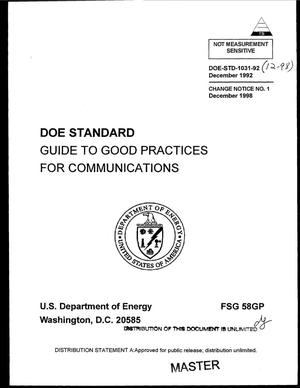 Primary view of object titled 'Guide to good practices for communications'.