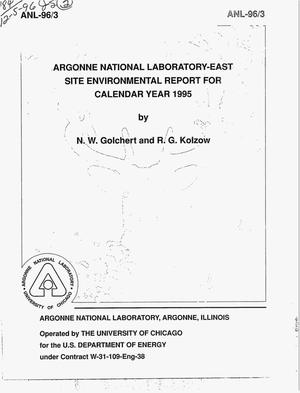 Primary view of object titled 'Argonne National Laboratory-East site environmental report for calendar year 1995'.