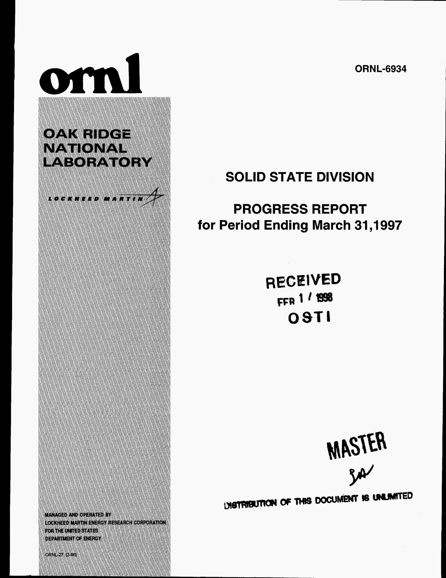 Solid State Division progress report for period ending March 31, 1997                                                                                                      [Sequence #]: 1 of 338
