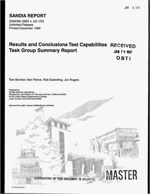 Primary view of object titled 'Results and conclusions test capabilities task group summary report'.