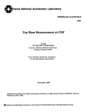 Primary view of object titled 'Top mass measurements at CDF'.