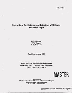 Primary view of object titled 'Limitations for heterodyne detection of Brillouin scattered light'.