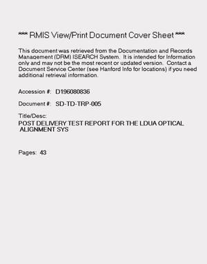 Primary view of object titled 'Post delivery test report for light duty utility arm optical alignment system (OAS)'.