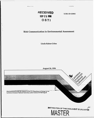 Primary view of object titled 'Risk communication in environmental assessment'.