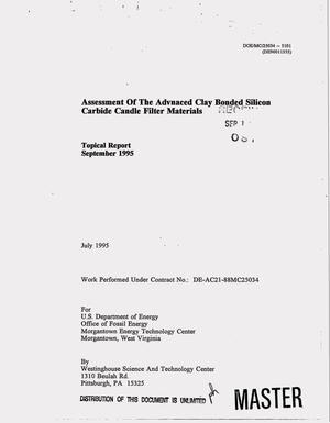 Primary view of object titled 'Assessment of the advanced clay bonded silicon carbide candle filter materials. Topical report, September 1995'.
