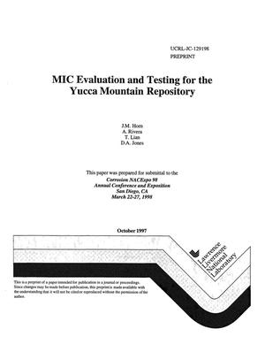 Primary view of object titled 'MIC evaluation and testing for the Yucca Mountain repository'.