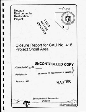 Primary view of object titled 'Closure report for CAU No. 416: Project Shoal Area'.