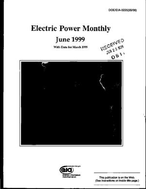 Primary view of object titled 'Electric power monthly, June 1999, with data for March 1999'.