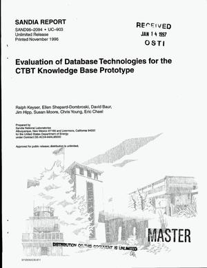 Primary view of object titled 'Evaluation of database technologies for the CTBT Knowledge Base prototype'.