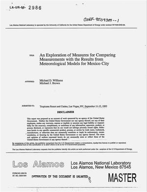 Primary view of object titled 'An exploration of measures for comparing measurements with the results from meteorological models for Mexico City'.