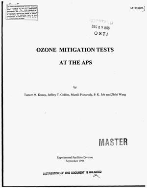 Primary view of object titled 'Ozone mitigation tests at the APS'.
