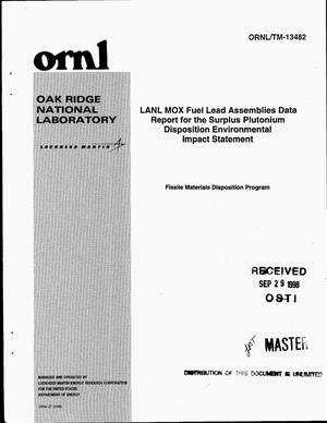 Primary view of object titled 'LANL MOX fuel lead assemblies data report for the surplus plutonium disposition environmental impact statement'.