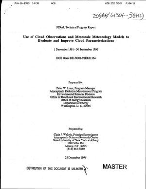 Primary view of object titled 'Use of cloud observations and mesoscale meteorology models to evaluate and improve cloud parameterizations. Final technical progress report, December 1, 1991--September 30, 1996'.