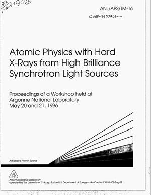 Primary view of object titled 'Atomic physics with hard X-rays from high brilliance synchrotron light sources'.