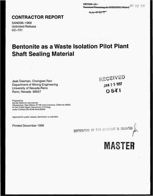 Primary view of object titled 'Bentonite as a waste isolation pilot plant shaft sealing material'.