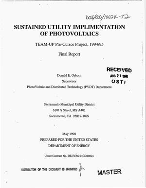 Primary view of object titled 'Sustained utility implementation of photovoltaics. TEAM-UP pre-cursor project, 1994-1995, final report'.