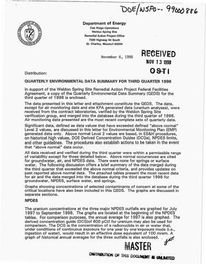 Primary view of object titled 'Weldon Spring Site Remedial Action Project Federal Facilities Agreement: Quarterly environmental data summary for third quarter 1998'.