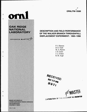 Primary view of object titled 'Description and field performance of the Walker Branch throughfall displacement experiment: 1993--1996'.