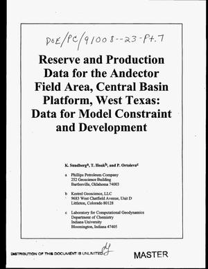 Primary view of object titled 'Reserve and production data for the Andector Field area, Central Basin Platform, West Texas: Data for model constraint and development'.