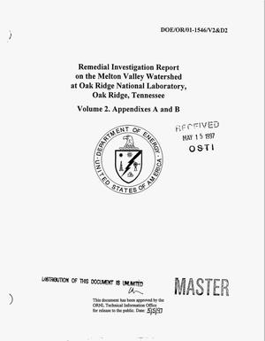 Primary view of object titled 'Remedial investigation report on the Melton Valley watershed at Oak Ridge National Laboratory, Oak Ridge, Tennessee. Volume 2: Appendixes A and B'.