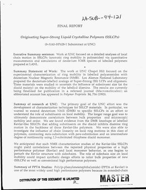 Primary view of object titled 'Originating super-strong liquid crystalline polymers (SSLCPs). Final report'.