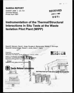 Primary view of object titled 'Instrumentation of the thermal/structural interactions in situ tests at the Waste Isolation Pilot Plant (WIPP)'.