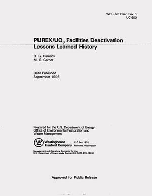 Primary view of object titled 'PUREX/UO3 Facilities deactivation lessons learned history'.