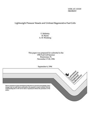 Primary view of object titled 'Lightweight pressure vessels and unitized regenerative fuel cells'.