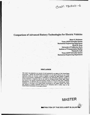 Primary view of object titled 'Comparison of advanced battery technologies for electric vehicles'.