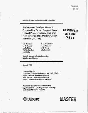 Primary view of object titled 'Evaluation of Dredged Material Proposed for Ocean Disposal from Federal Projects in New York and New Jersey and the Military Ocean Terminal (MOTBY)'.