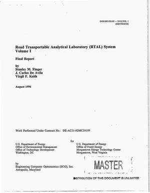Primary view of object titled 'Road Transportable Analytical Laboratory (RTAL) system: Volume I. Final report'.