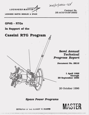 Primary view of object titled 'GPHS-RTGs in support of the Cassini Mission. Semi annual technical progress report, 1 April 1996--29 September 1996'.