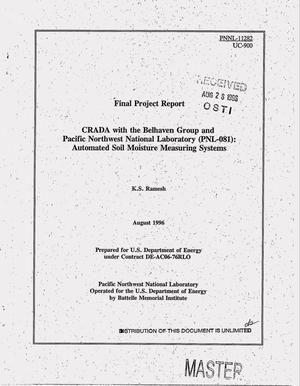 Primary view of object titled 'CRADA with the Belhaven group and Pacific Northwest National Laboratory (PNL-081): Automated soil moisture measuring systems. Final project report'.