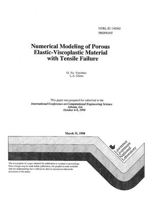 Primary view of object titled 'Numerical modeling of porous elastic-viscoplastic material with tensile failure'.