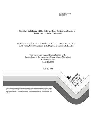 Primary view of object titled 'Spectral catalogue of the intermediate ionization states of iron in the extreme ultraviolet'.
