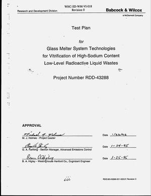 Primary view of object titled 'Test plan for glass melter system technologies for vitrification of high-sodium content low-level radioactive liquid waste, Project No. RDD-43288'.