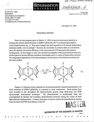 Primary view of object titled '[Photochemistry of intermolecular C-H bond activation reactions]. Progress report, [September 15, 1994--March 15, 1995]'.