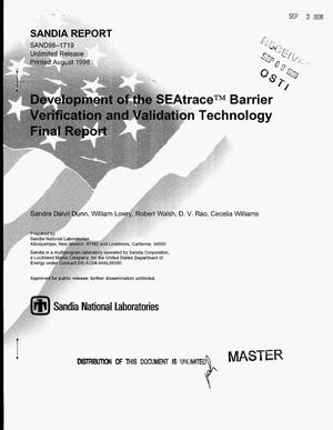 Primary view of object titled 'Development of the SEAtrace{trademark} barrier verification and validation technology. Final report'.