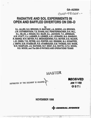 Primary view of object titled 'Radiative and SOL experiments in open and baffled divertors on DIII-D'.