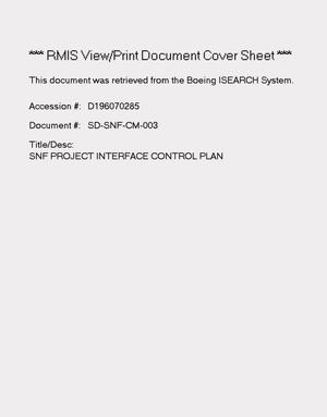 Primary view of object titled 'Spent Nuclear Fuel project interface control plan'.